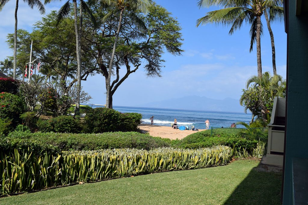 Your view of Napili Bay from the private lanai is spectacular! Sit and watch while people play on the beach or in the surf. Relax and enjoy amazing sunsets. In the winter months watch the whales or the turtles feeding. (Click the photo to view a larger image.)