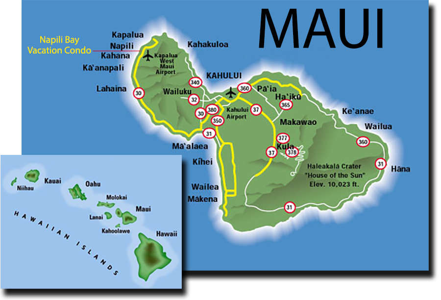 Airports In Maui Hawaii Map.Getting To Maui Air Service Car Rental Napili Bay Vacation