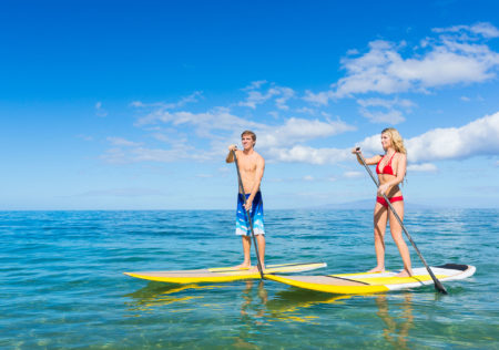 Paddleboarding is a growing sport in Maui.